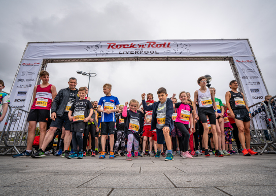 Kids gather and get ready to start the Kids Rock at Liverpool Rock n Roll Marathon starting line